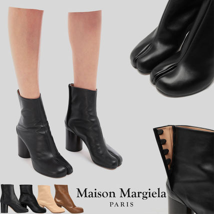 Formal Style  Casual Style Studded Plain Leather Block Heels