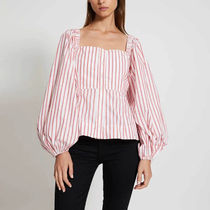 Ganni Stripes Casual Style Long Sleeves Cotton Elegant Style