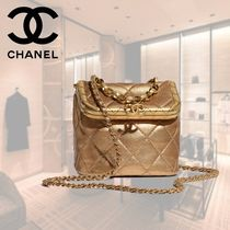 CHANEL Lambskin Chain Plain Leather Party Style Elegant Style Logo