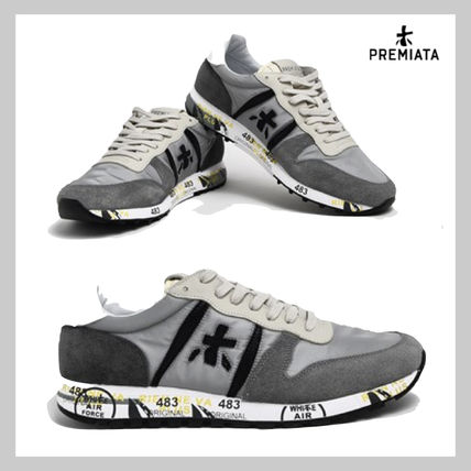 Suede Street Style Leather Logo Sneakers