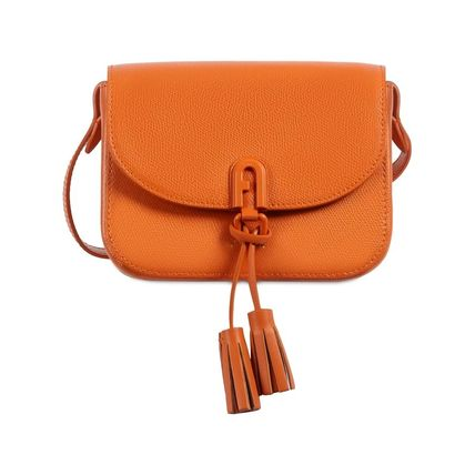 Casual Style Tassel 2WAY Plain Leather Party Style Crossbody