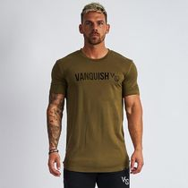 VANQUISH FITNESS Crew Neck Pullovers Street Style Plain Cotton Short Sleeves