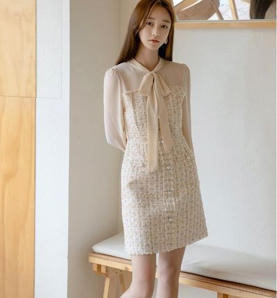 Short Casual Style A-line Tweed Blended Fabrics Long Sleeves