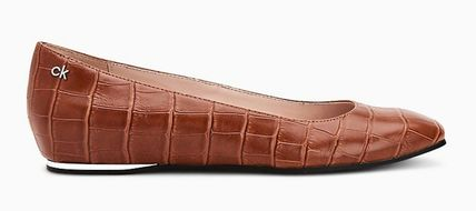 Calvin Klein Square Toe Platform Casual Style Plain Other Animal Patterns