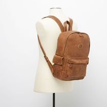 Roots Casual Style A4 Plain Leather Handmade Logo Backpacks