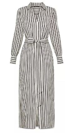 Stripes Casual Style A-line Silk Long Sleeves Plain Cotton