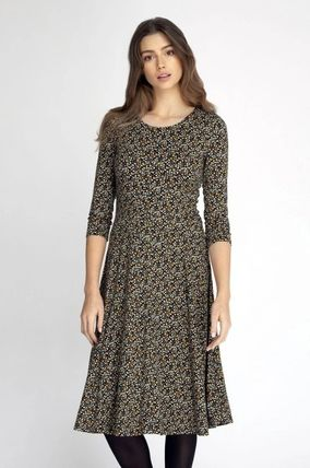Flower Patterns Flared Cropped Dresses