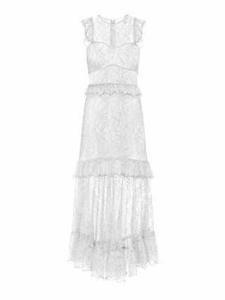 Crew Neck Flared Long Lace Bridal Sheer Dresses