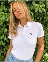 Abercrombie & Fitch Street Style Plain Cotton Short Sleeves Logo Polos