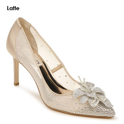 Flower Patterns Plain Pin Heels Party Style With Jewels