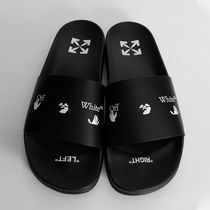 Off-White Unisex Street Style Plain Shower Shoes PVC Clothing Logo