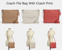 Coach Casual Style Plain Leather Crossbody Logo Satchels
