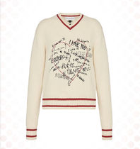 Christian Dior Short Heart Casual Style Cashmere Rib V-Neck Long Sleeves