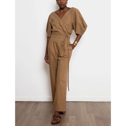 Dungarees V-Neck Cropped Plain Cotton Long Office Style