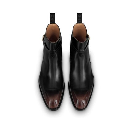 Louis Vuitton Plain Toe Street Style Plain Leather Engineer Boots