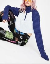 DOLLS KILL Cable Knit Short Casual Style Street Style Long Sleeves
