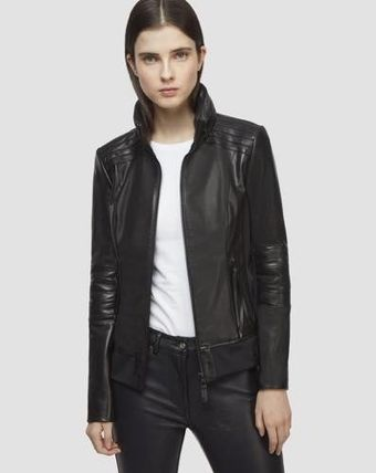 Street Style Plain Leather Medium Biker Jackets
