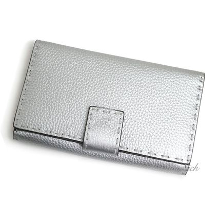FENDI SELLERIA Plain Leather Logo Long Wallets