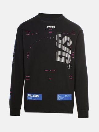 Crew Neck Street Style Long Sleeves Logo Sweaters