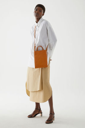 3WAY Plain Leather Crossbody Totes
