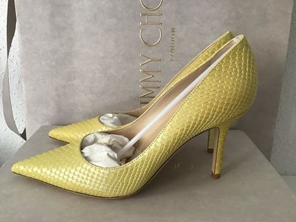 Jimmy Choo Casual Style Blended Fabrics Plain Leather Pin Heels
