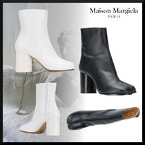 Maison Margiela Tabi Plain Leather Block Heels Elegant Style High Heel Boots