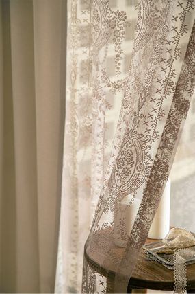 DECO VIEW Co-ord Sheer Flower Patterns Unisex Curtains