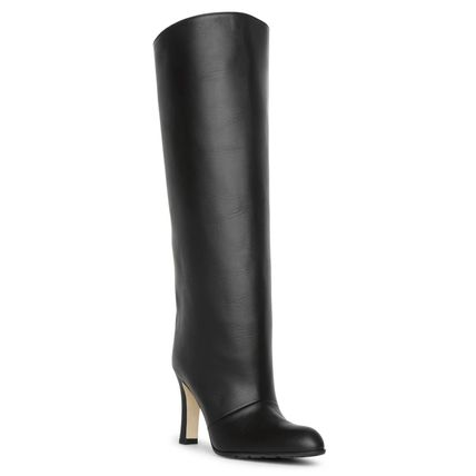 Plain Toe Plain Leather Elegant Style Over-the-Knee Boots