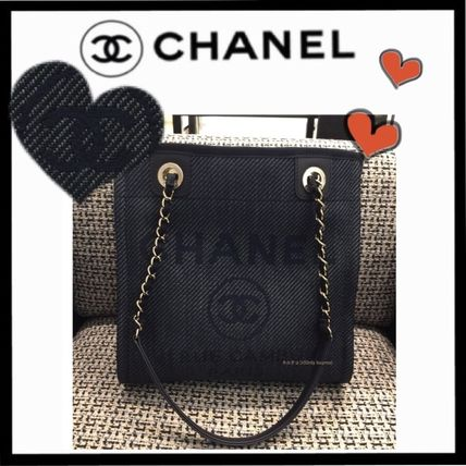 CHANEL DEAUVILLE Casual Style Unisex Canvas Plain Totes