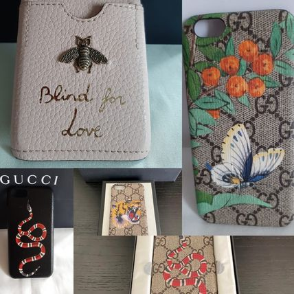 GUCCI Flower Patterns Tropical Patterns Leather iPhone 8 iPhone X