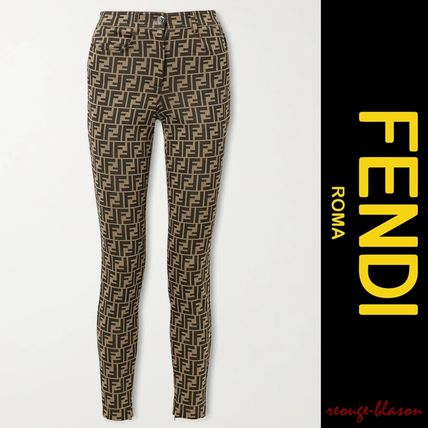 FENDI Casual Style Street Style Long Party Style Logo Skinny Pants