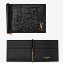 Saint Laurent Unisex Calfskin Street Style Folding Wallet Logo Money Clip