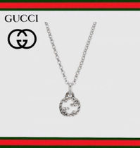 GUCCI Unisex Silver Logo Necklaces & Chokers