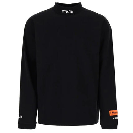 Pullovers Street Style Long Sleeves Plain Cotton