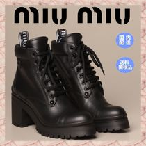 MiuMiu Lace-up Casual Style Plain Elegant Style Lace-up Boots