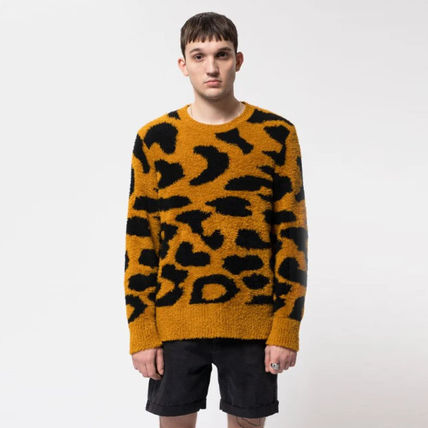Surf Style Crew Neck Pullovers Leopard Patterns Long Sleeves