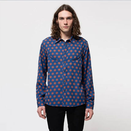 Surf Style Button-down Dots Long Sleeves Shirts