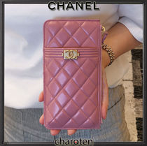 CHANEL BOY CHANEL Unisex Lambskin Plain Leather Bridal Pouches & Cosmetic Bags