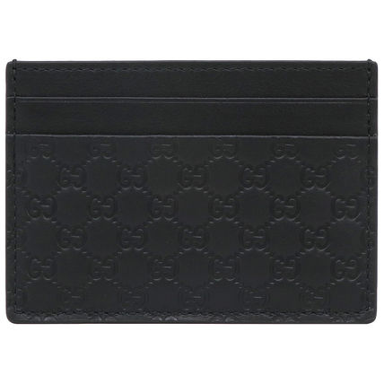 GUCCI Plain Leather Logo Card Holders