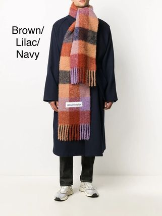 Other Plaid Patterns Unisex Wool Logo Knit & Fur Scarves