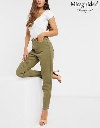 Casual Style Street Style Plain Medium Khaki Pants
