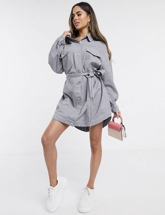 Short Casual Style Denim Long Sleeves Plain Shirt Dresses
