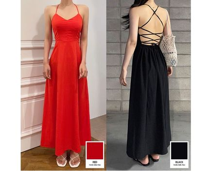 Casual Style Maxi A-line Sleeveless Flared V-Neck Plain