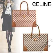 CELINE Horizontal Cabas Casual Style A4 Office Style Logo Totes