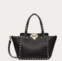 VALENTINO Casual Style Calfskin Studded 2WAY Bi-color Logo Totes