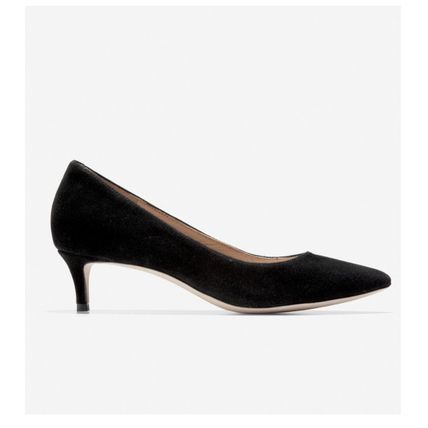 Casual Style Suede Plain Leather Pin Heels Office Style