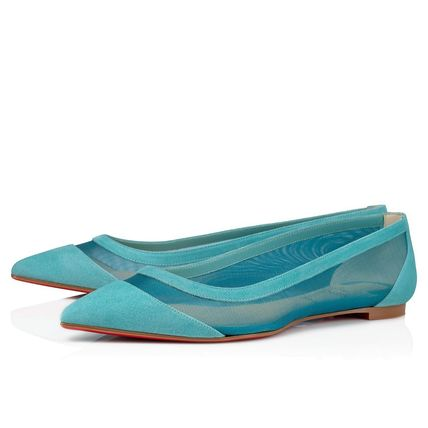 Christian Louboutin Suede Velvet Plain Leather Sheer Pointed Toe Shoes