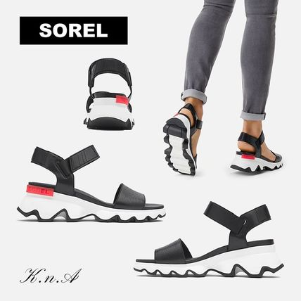 Open Toe Platform Casual Style Plain Footbed Sandals Logo
