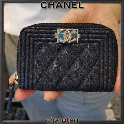 CHANEL BOY CHANEL Unisex Calfskin Plain Leather Long Wallet  Coin Cases