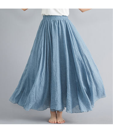 Casual Style Pleated Skirts Street Style Plain Long